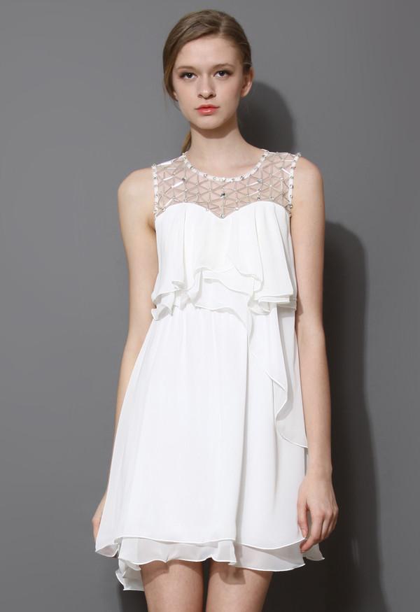 dress pixie embellished frilling chiffon white