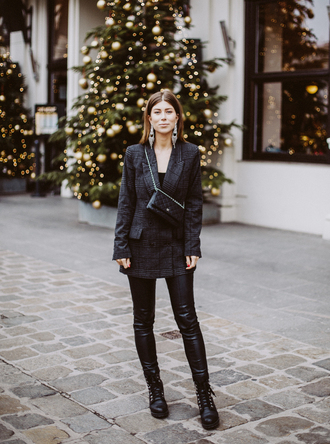 jacket tumblr blazer grey blazer plaid plaid blazer pants black pants leather pants black leather pants boots black boots bag crossbody bag