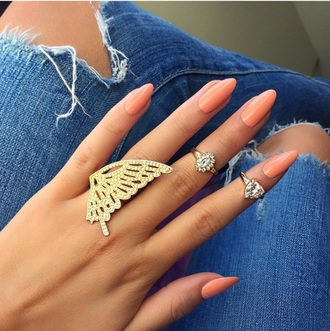 nail accessories butterfly diamond ring