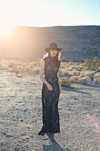 natalie off duty blogger hat folk gypsy boho lace dress black dress maxi dress dress jewels