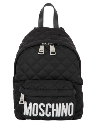 quilted backpack silver black bag