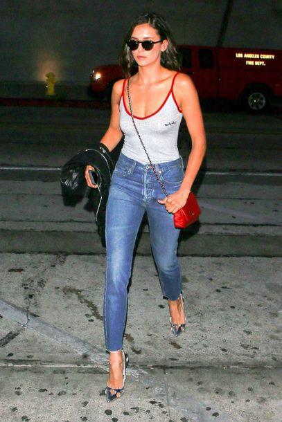 jeans pumps nina dobrev bodysuit top tank top shoes
