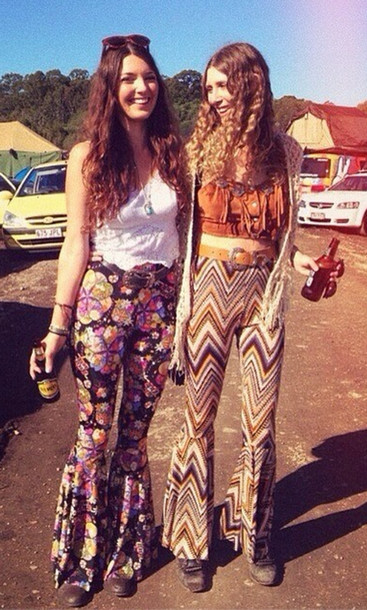 Pants 70s Style Seventies Earth Vintage Festival Crop Wheretoget