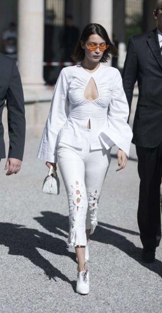 34cc0d437e blouse top white white top pants bella hadid model off-duty milan fashion  week 2017