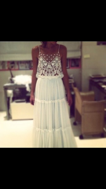 Dress lace indie boho boho chic prom dress maxi dress white dress hippie hipster Country style fashion tumblr