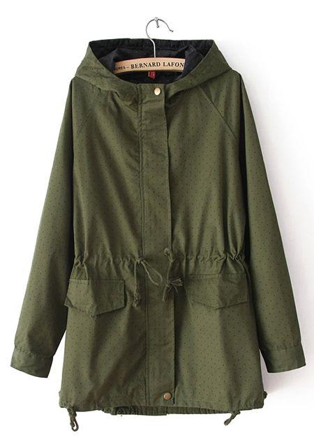 Women's with cap collar long sleeve dot printing skirt pendulum slim fit wind coat online