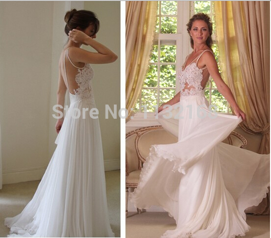 com buy inexpensive white ivory summer chiffon beach wedding dresses