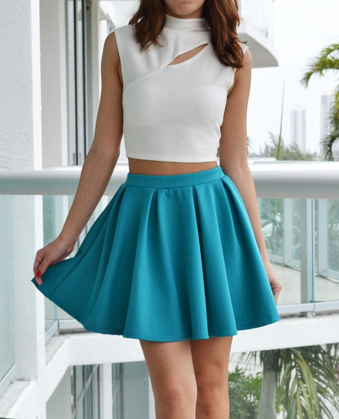 Teal/Turquoise Mini Skirt - Teal Scuba Skater Skirt | UsTrendy