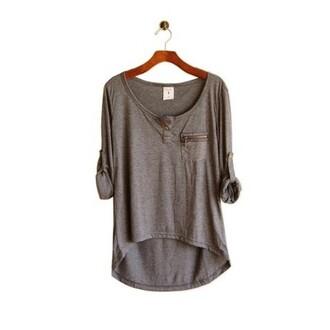 grey top grey t-shirt t-shirt shirt grey color zip comfy