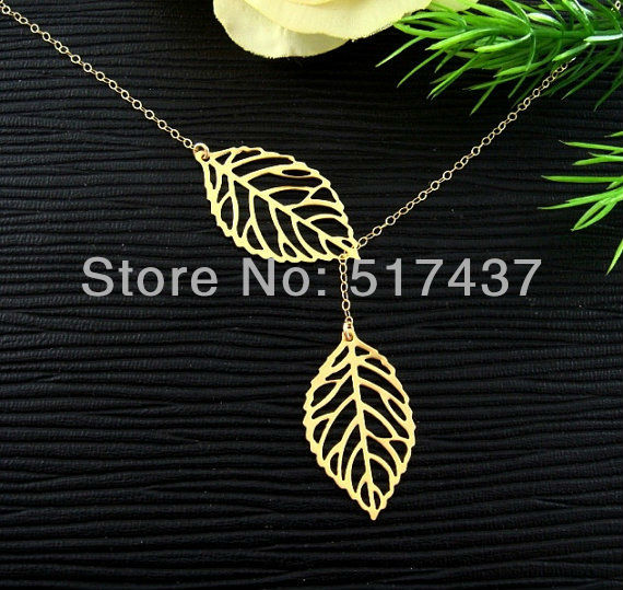 Free shipping !!6pcs  Christmas Gift !!High Quality Jewelry Gold Leaf Lariat Gold Fill Necklace, Simple Wedding jewelry-in Pendant Necklaces from Jewelry on Aliexpress.com