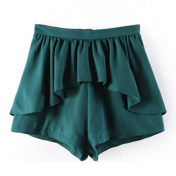 peplum green shorts zip closure ruffle