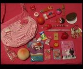 jewels,beautiful bags,bag,lip gloss,kawaii,lolita,pencils