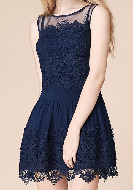 Blue lace crochet dress