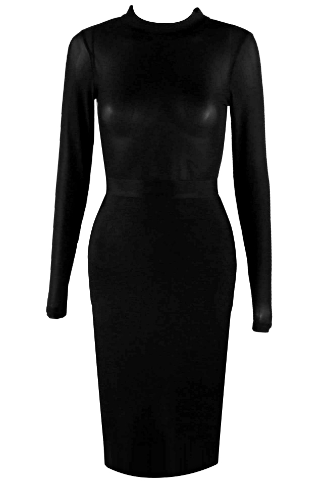 Long Sleeve Mesh Bodice Midi Bandage Dress Black