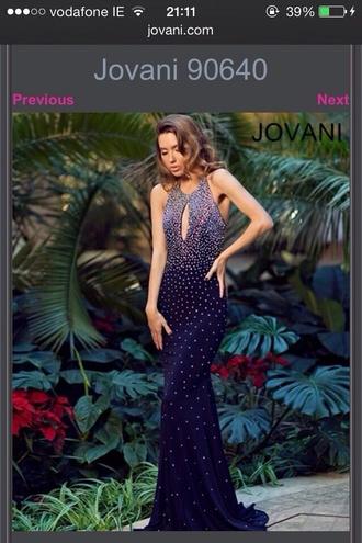 dress maxi dress long prom dress blue prom dress blue dress backless prom dress crystal prom dress sleeveless dress navy dress navy jovani