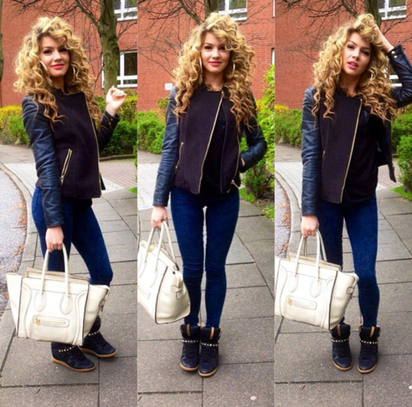 bag celine jacket shoes hair blonde hair shirin