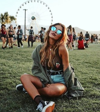 coat festival army green jacket blue shades rose bodysuit vintage denim sheer socks sunglasses top