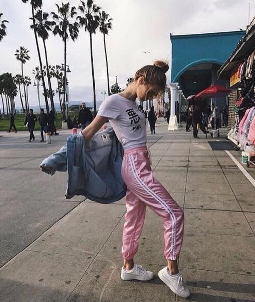 Pants pink pants white aesthetic tumblr stylish style jeans white t-shirt white top ...