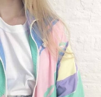 jacket windbreaker multicolor pastel pink blue grunge hipster grunge jacket sporty jacket pastel jacket tumblr colorful green yellow 90s style fairy kei coat weheartit cool white purple kway pastel goth outfit aesthetic pretty colorblock pastel bomber grunge paste jaket clothes girl
