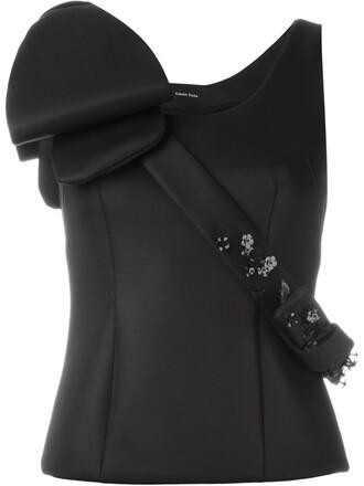 blouse embellished black top