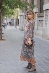 macarenagea,blogger,dress,jewels,bag,shoes,ankle boots,maxi dress,floral dress,fall outfits
