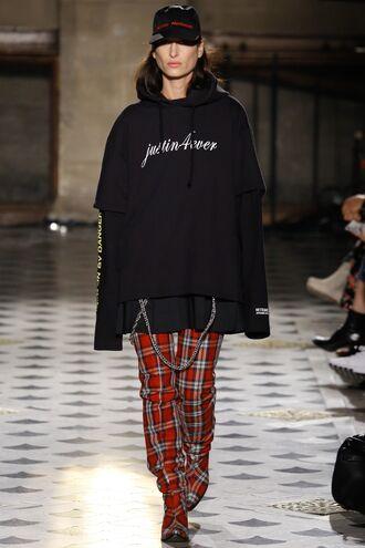 sweater sweatshirt oversized sweater oversized vetements fashion week 2016 paris fashion week 2016 hat boots