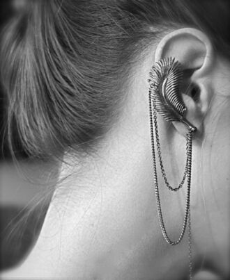 earrings jewelry chain jewels feathers ear cuff silver