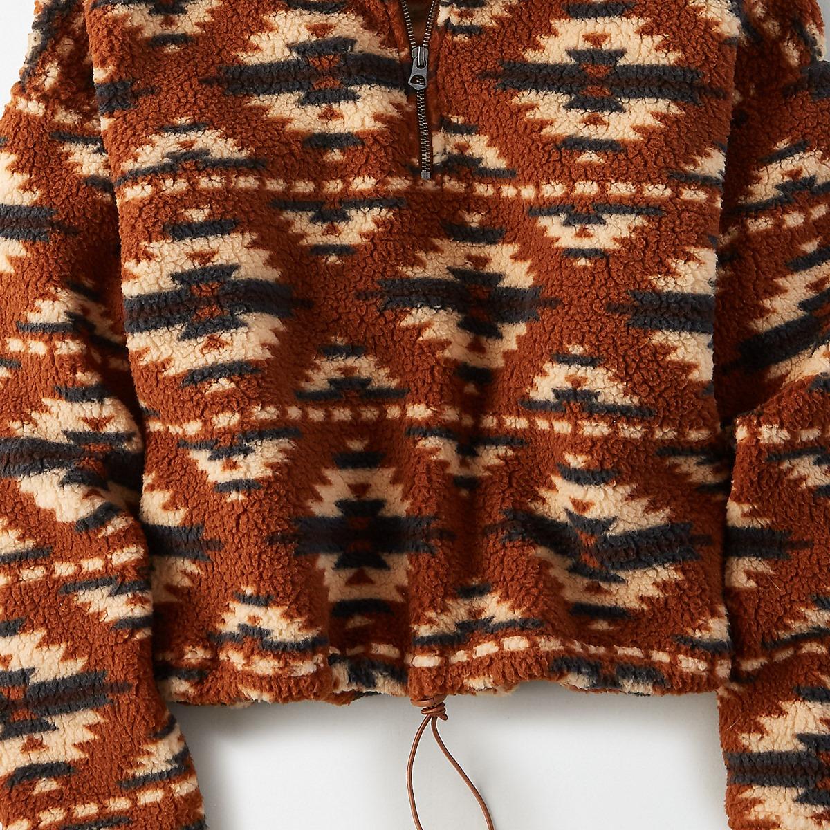 AEO Fuzzy Sherpa Quarter Zip Sweatshirt