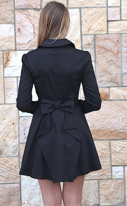 Black Jacket - Black Long Sleeve Trench Coat | UsTrendy