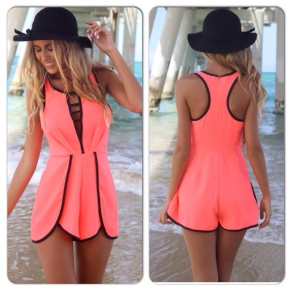 shorts dress romper fashion modern pink summer outfit clothes alittlepartystore shopping summer dress swimwear spring