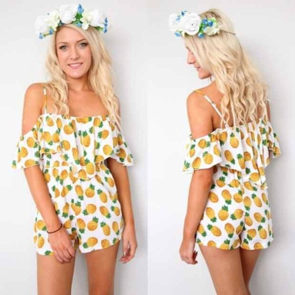 shorts romper hat blouse jumpsuit pineapple cute white