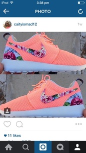 shoes,nike roshe run floral,white,floral,salmon,top,pink,pink shirt,tight,tight shirt,belly top,pink choker,choker necklace,pretty,cute,cute top,All pink outfit,cute pink outfit,the pink outfits,pink outfit,long sleeves,no shoulders,off the shoulder top,jewels,absolutemarket