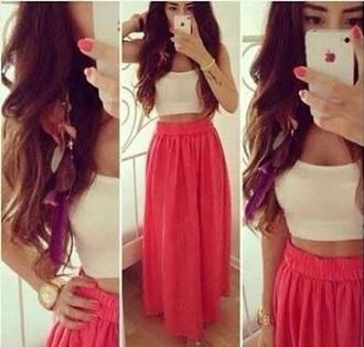 skirt pink red maxi skirt