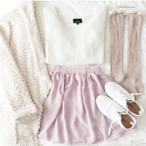 skirt sweater cardigan shoes white sweater blouse white cardigan cute cardigan soft colours socks coat