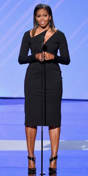 Dress Black Dress Black Michelle Obama Midi Dress Shoes