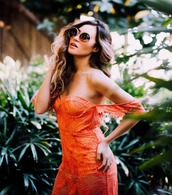 dress,red,coral,lace,midi,sexy,lace dress,midi dress,see through dress,red transparent skirt,transparent,bustier,bustier dress,sexy dress,sexy red dresses,red dress,off the shoulder,off the shoulder dress,date outfit,romantic summer dress,romantic dress,elegant,cute,chic,revolve clothing