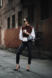 the chriselle factor,blogger,sweater,jacket,blouse,jeans,shoes,bag,sunglasses,high heel pumps,pumps,black bag,top,tumblr,sleeveless,sleeveless top,burgundy,burgundy top,shirt,white shirt,denim,black jeans,skinny jeans,black skinny jeans,pointed toe pumps,black heels