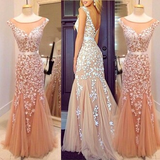 dress prom formal romantic lace elegant homecoming dress gown nude tulle dress vanessawu