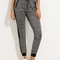 Grey pocket tie waist pants -shein(sheinside)