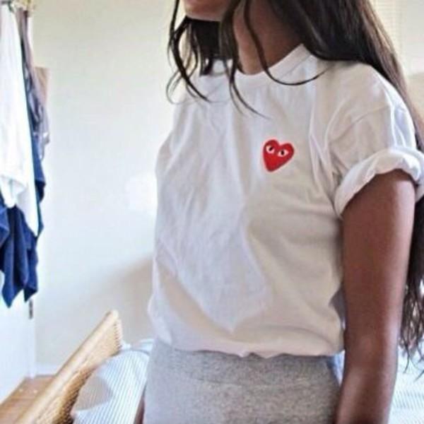 navy blue color big heart couple shirt cdg play comme des garcons ... a3da9f8575