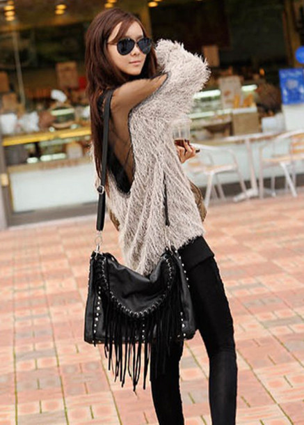 swimwear sexy sexy sweater mesh patchwork cardigan sweater sweatshirt top openback clothes fashion shirt blouse jumper bag white cream white sweater purse big purse fringes leather fringe bag fringed bag mohair mohair sweater winter outfits chic cute leather pants leather