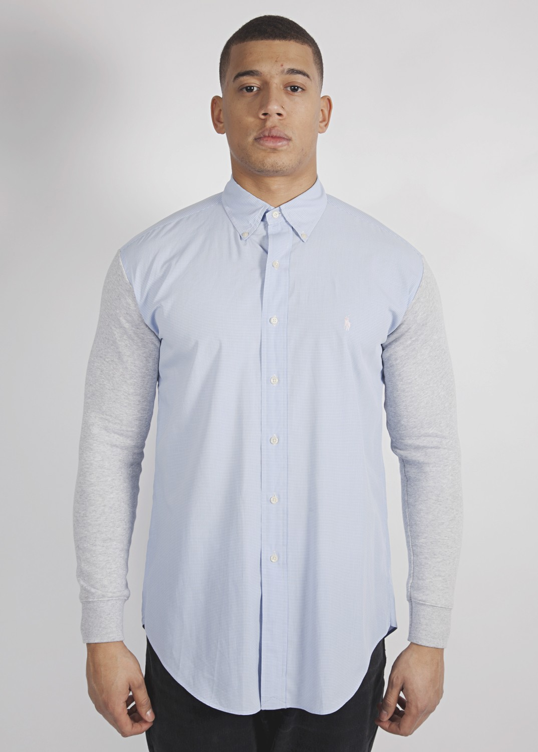 Ralph lauren light blue small checked shirt with grey sweat sleeves
