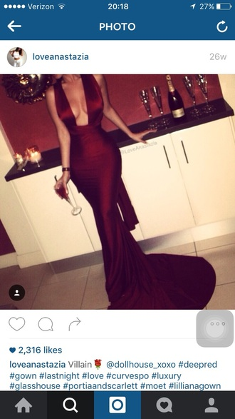 dress red dress long prom dress cleavage