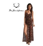 dress,maxi dress,spaghetti strap,floral,pattern,floral pattern,print,slit,sheer,brown,v neck,loose