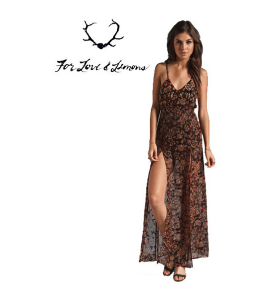 floral pattern floral pattern dress maxi dress spaghetti strap print slit leg sheer brown v-neck loose fit
