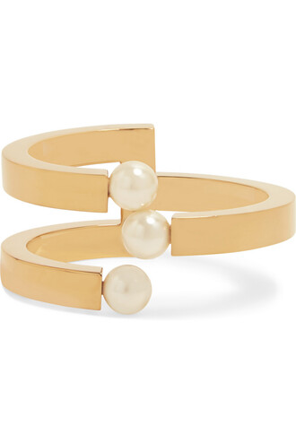 cuff pearl gold white jewels