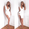 Plunging cut out slit bandage dress white