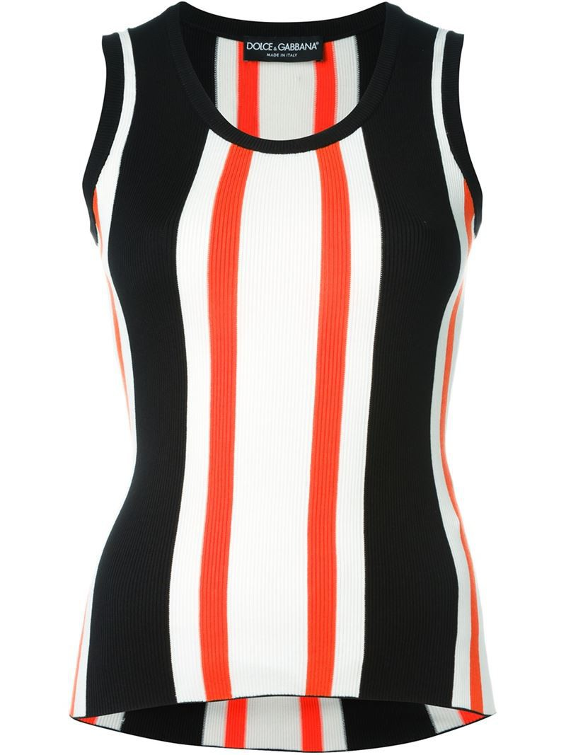 Dolce & Gabbana striped ribbed tank top, Women's, Size: 40, Black, Silk