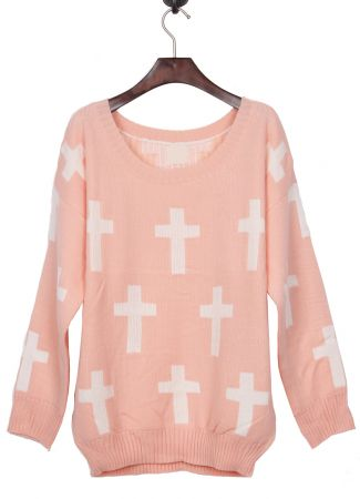 Tops 2013 Fall And Winter Cross Jumper Sweater Print Beautiful Pink Round Neck and White Pattern,Free Shipping!-in Pullovers from Apparel & Accessories on Aliexpress.com