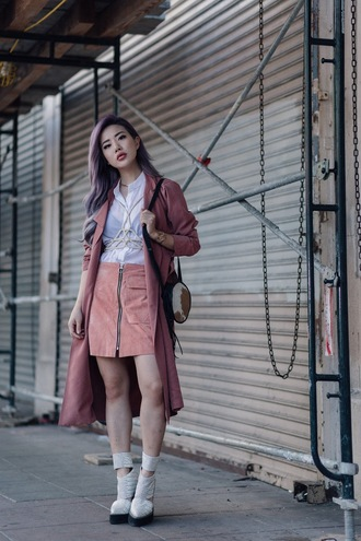 feral creature blogger coat skirt jewels pink skirt zip white blouse boots waterfall coat pink suede skirt